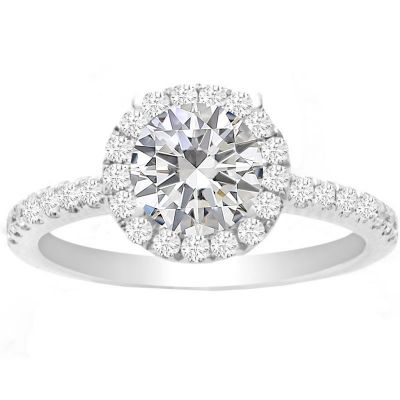 Kaley Round Halo Engagement Ring in 14K White Gold; 0.54 ctw