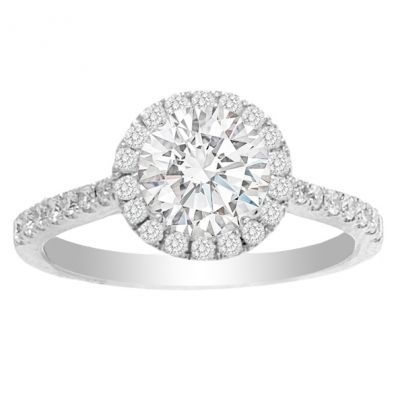 Jesslyn Round Halo Engagement Ring in 14K White Gold; 1.36 ctw