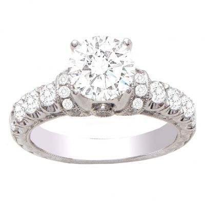 Sirena Diamond Engagement Ring in 14K White; .71 ctw