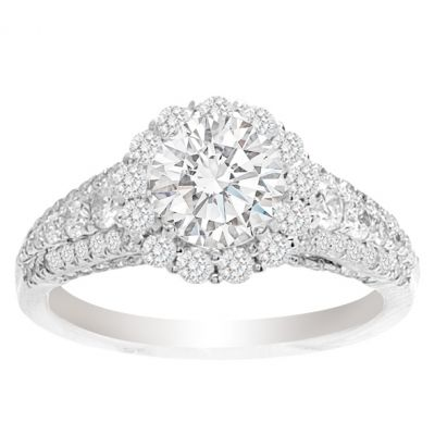 Jackiee 14K White Gold Round Halo Engagement Ring; 2.09 ctw