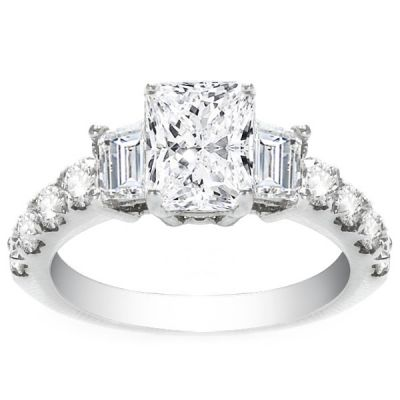 Diamond Engagement Ring in 14K White Gold- Katarina; 3.38 ctw