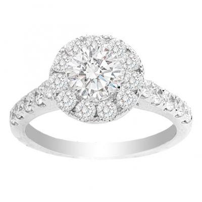 Vera 14K White Gold Round Halo Engagement Ring; 1.85 ctw