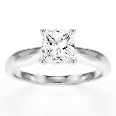 Delia Solitaire Ring Setting in 14K White Gold