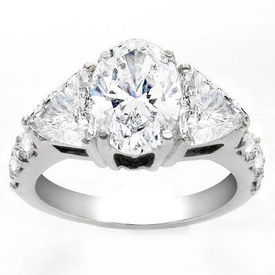 Marceliana Three-Stone Diamond Ring in 14K White Gold; 3.09 ctw