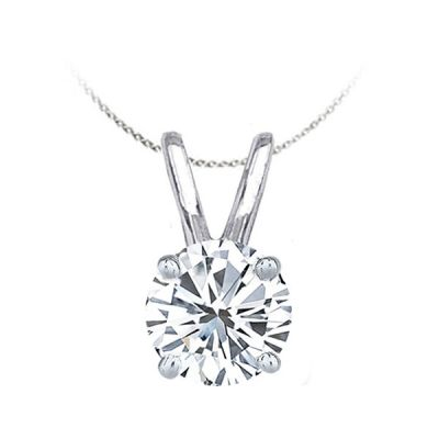 Solitaire Diamond Pendant in 14K White Gold; Shown with 0.60 ctw with 1.07 Carat Cushion Diamond
