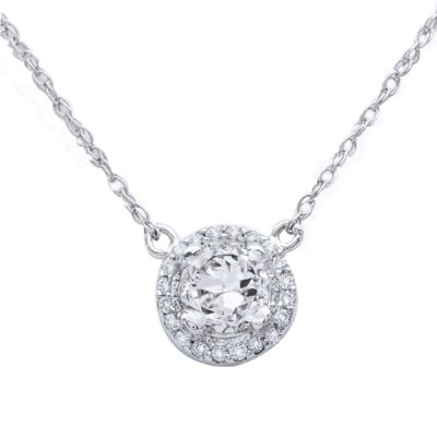 Halo Diamond Pendant in 14K White Gold; Shown with  0.61 ctw   with 0.73 Carat Cushion Diamond