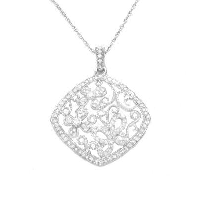 Flora Diamond Pendant in 14K White Gold; 1.00 ctw