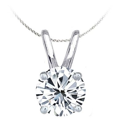 Solitaire Diamond Pendant in 14K White Gold; Shown with 1.00 ctw with 0.72 Carat Princess Diamond