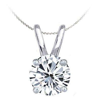 14K White Gold Diamond Solitaire Pendant; Diamond Weight: 0.75 ctw