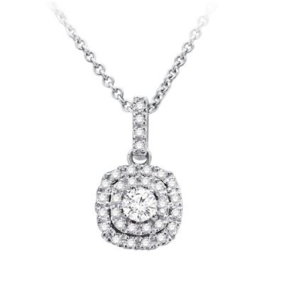 Double Halo Diamond Pendant in 14K White Gold; Shown with 0.33 ctw   with 1 Carat Emerald Diamond
