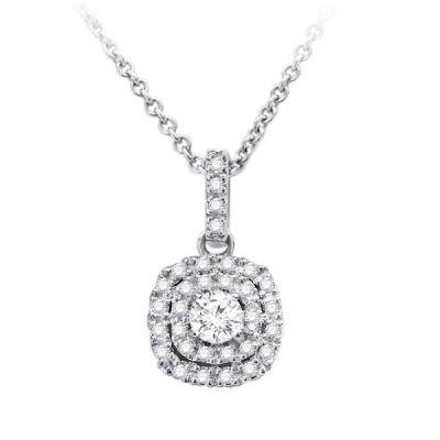 Double Halo Diamond Pendant in 14K White Gold; Shown with 0.33 ctw   with 0.82 Carat Round Diamond
