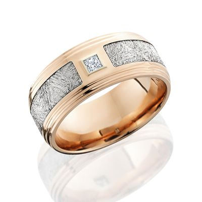 Rose Gold Men's Wedding Band With Meteorite and diamond
