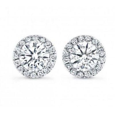 Halo Diamond Stud Earrings in 14K White Gold; 1.00 ctw