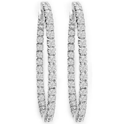 14K White Gold Diamond Hoop Earrings; Diamond Weight: 1.4 ctw