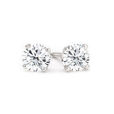 14K White Gold Diamond Stud Earrings; 0.90 ctw