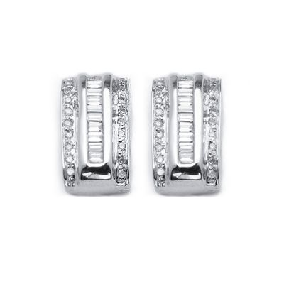 Baguette and Round Diamond Earrings 14K White Gold; .50 ctw