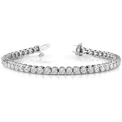 14K White Gold Diamond Bracelet;  4.36 ctw