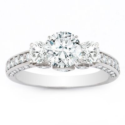 Rayna Three-Stone Engagement Ring in 14K White Gold; 2 ctw