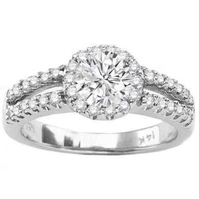 Diamond Engagement Ring in 14K White Gold; 0.75 ctw