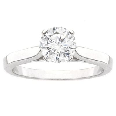 Sophie 14K White Gold Cathedral Solitaire Engagement Ring with 2.02 Carat Princess Diamond