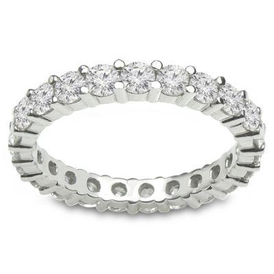 14K White Gold Diamond Eternity Wedding Band; Diamond Weight: 1.28 ctw