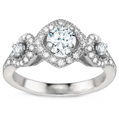 Vintage Three-Stone 18K White Gold Diamond Engagement Ring; 1.25 ctw