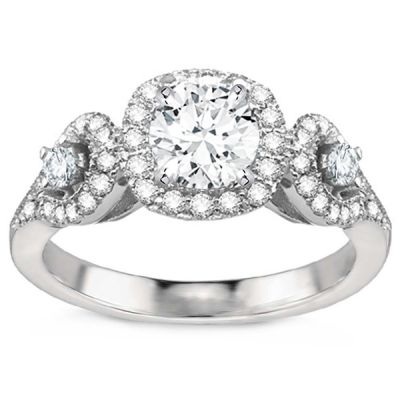Three-Stone Engagement Ring in 18K White Gold; 1.10 ctw
