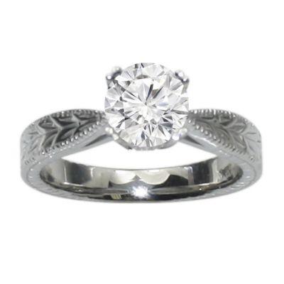 Hand Engraved Milgrain Engagement Ring in 14K White Gold