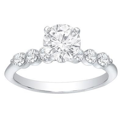 Grace 14K White Gold Diamond Engagement Ring; 0.35 ctw