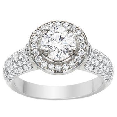 Halo Pave 14K White Gold Diamond Engagement Ring; 1.88 ctw