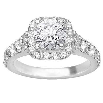 14K White Gold Diamond Engagement Ring; Diamond Weight: 0.90 ctw  Center Diamond Sold Separately