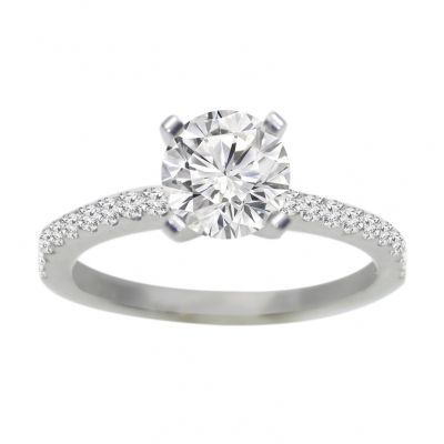 14k white gold diamond engagement ring .20 ctw center stone not included