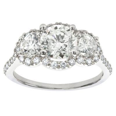 Lana Three-Stone Halo Engagement Ring; 2.00 ctw