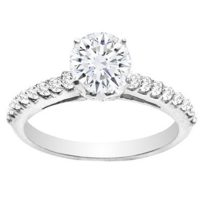 Fleur de Lis 14k White Gold Diamond Engagement Ring; .35 ctw
