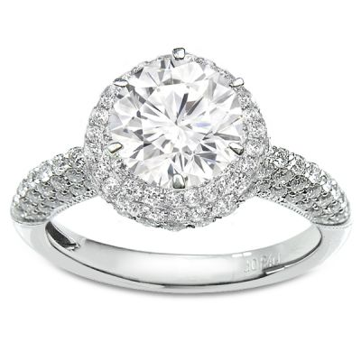 Contempo Pave White Gold Diamond Engagement Ring Center Diamond Sold Separately