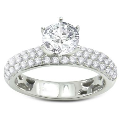 14k white gold diamond engagement ring .85 ctw center stone not included