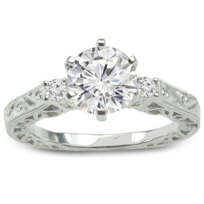 Engagement Ring in 14K White Gold- Melinda; 0.10 ctw