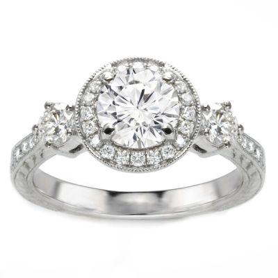 Ariel 14K White Gold Three-Stone Diamond Engagement Ring; 1.22 ctw