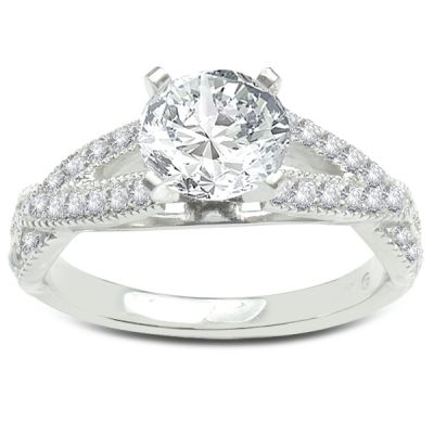 Ribbons Diamond and White Gold Engagement Ring; 0.40ctw