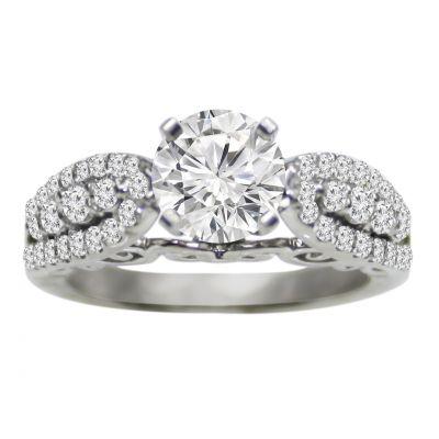 14k white gold diamond engagement ring .50 ctw