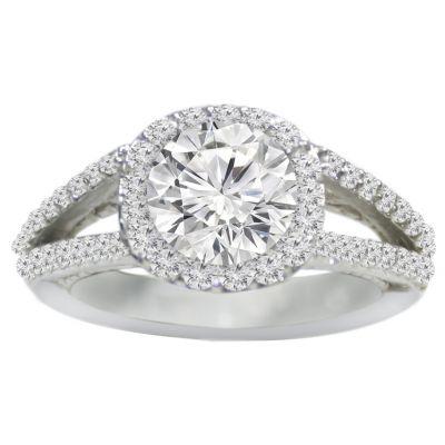 Halo Split Shank Diamond Engagement Ring in 14K White Gold; 0.70 ctw