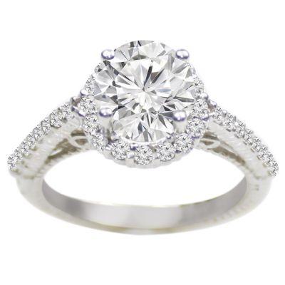 Lotus Diamond Engagement Ring in 14K White Gold; 0.45 ctw