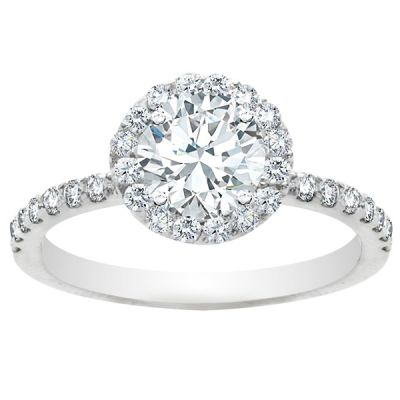Phoebe Halo Diamond Engagement Ring in 14K White Gold; 1.41 ctw