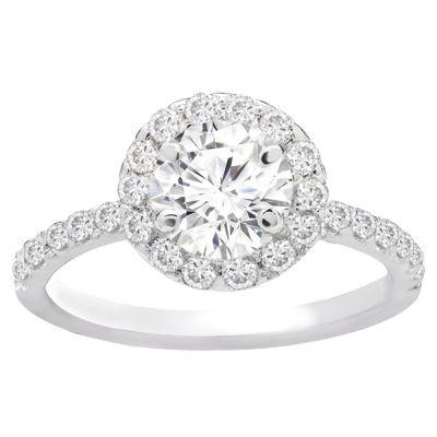 Savannah Halo Diamond Engagement Ring in 14K White Gold; 0.50 ctw