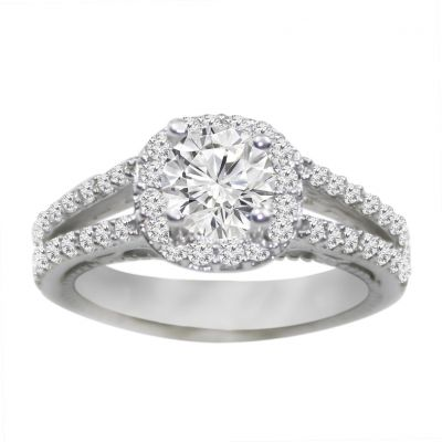 14k white gold diamond engagement ring .65 ctw center stone not included