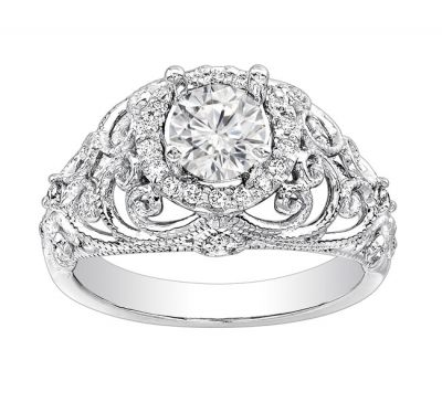 Diamond Engagement Ring in 14K White Gold- Luxurious; 0.25 ctw