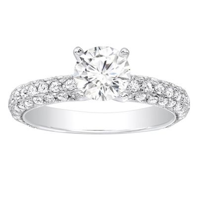 Alisa Pave Diamond Engagement Ring in 14K White Gold; 0.75 ctw