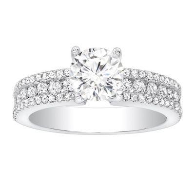 Genevieve Diamond Engagement Ring in 14K White Gold;  0.65 ctw