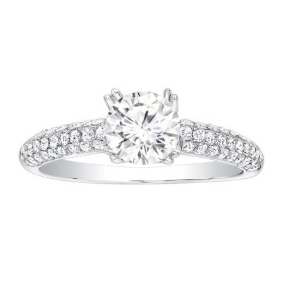 Chantel Pave Diamond Engagement Ring in 14K White Gold; Diamond 0.50 ctw