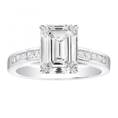 Renata Cathedral Channel-Set Engagement Ring in 14K White Gold: 0.40 ctw